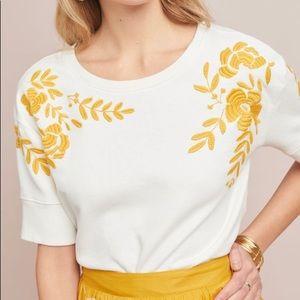 ANTHROPOLOGIE Vineyard Embroidered Sweatshirt